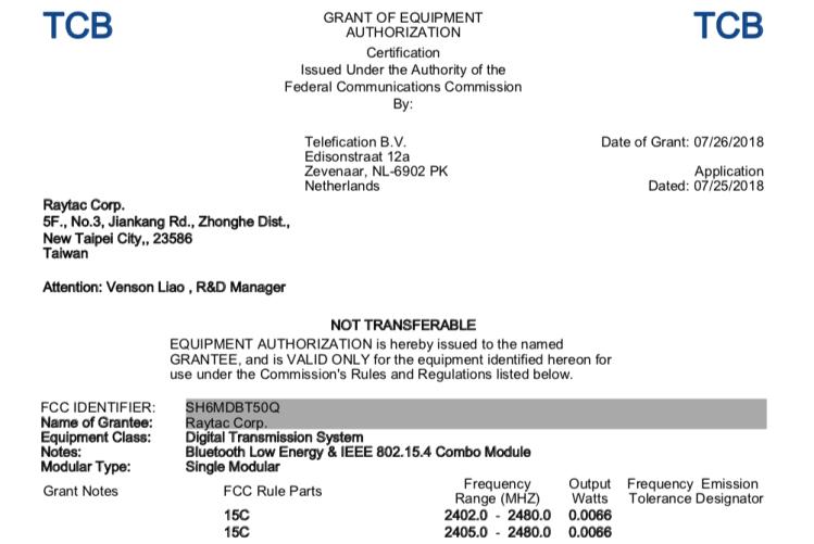Nordic nRF52840 MDBT50Q FCC Certificate