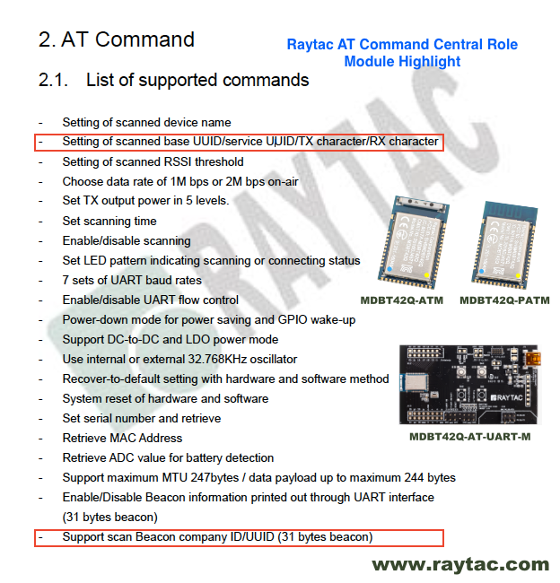 Raytac AT Command Central Role Module Highght