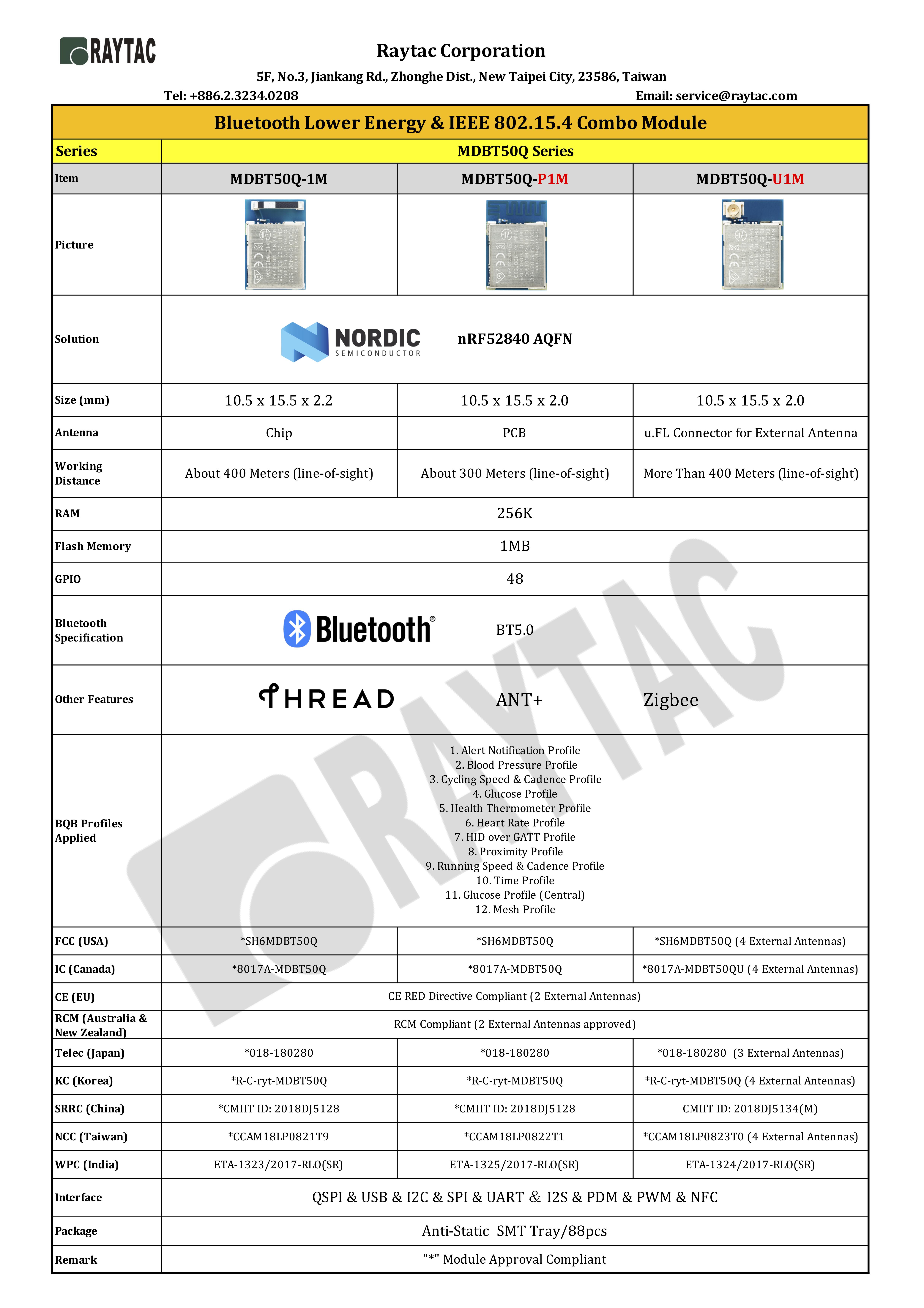 Raytac nRF52840 BLE Module SeriesRaytac nRF52840 BLE Module Series