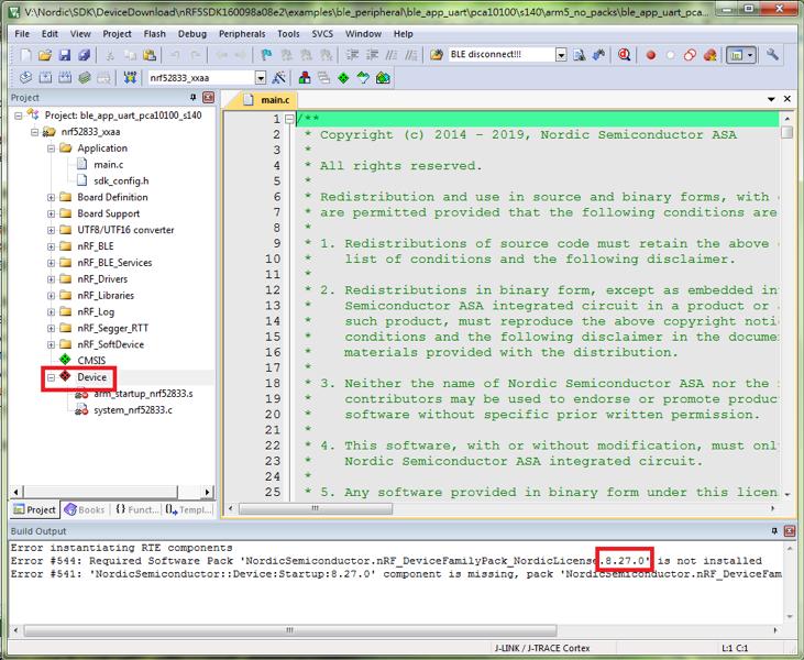 Modify nRF DeviceFamilyPack version to V8.27.1