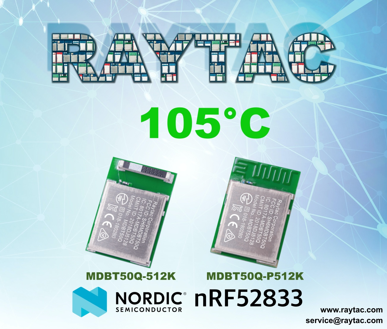 nRF52833 Module MDBT50Q By Raytac Has Extended To 105°C Ambient Temperature